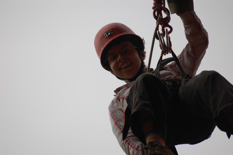 The captain abseiling